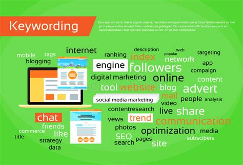 Search Engine Optimisation Research by Keywording Search Engine Optimization Concept Stock Vector