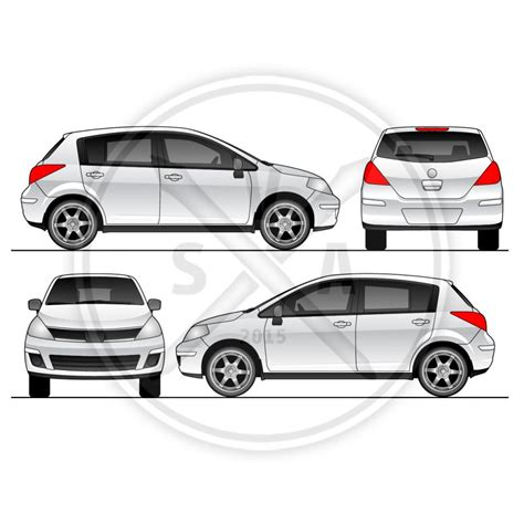vehicle wrap templates versa car wrap template stock vector