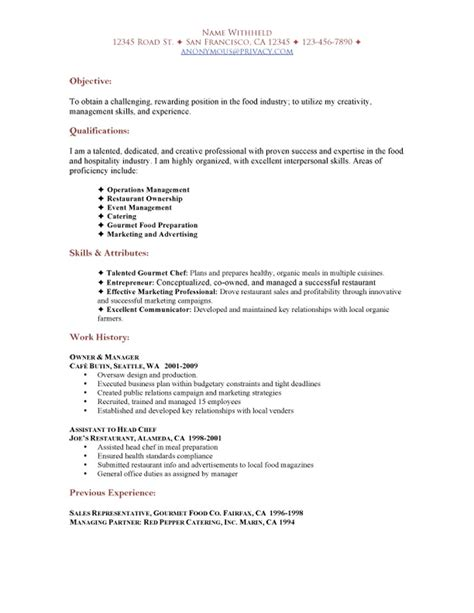 Resume Objective Statement Exles For Restaurant by Sle Restaurant Resumes Restaurant Functional Resume Sle Sle Restaurant Resumes