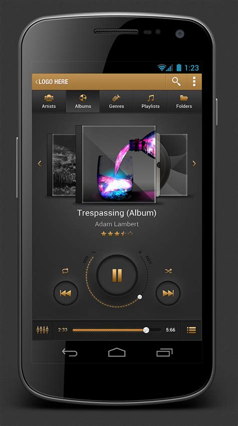 audio player android the golden player app on behance