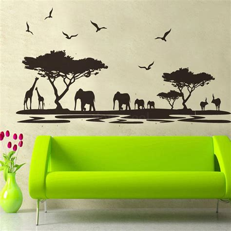 African Safari Themed Wall Sticker Jungle Animal Tree