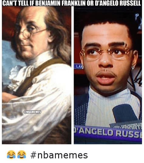 D Angelo Russell Memes - can t tell if benjamin franklin or d angelo russell nbamemes basketball meme on sizzle