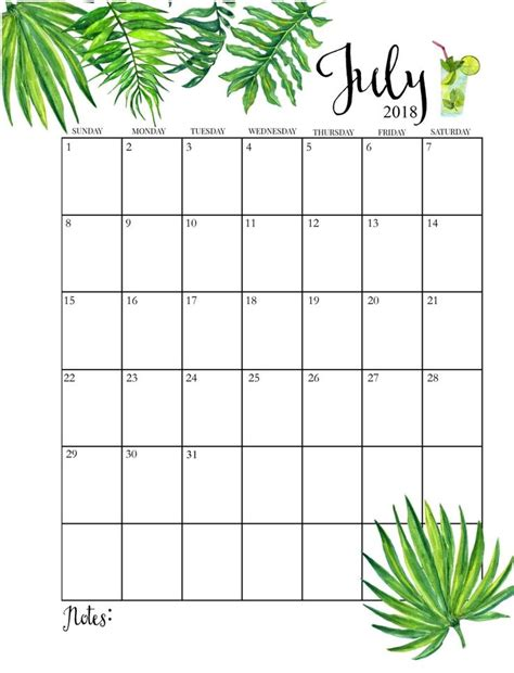 printable monthly july calendar