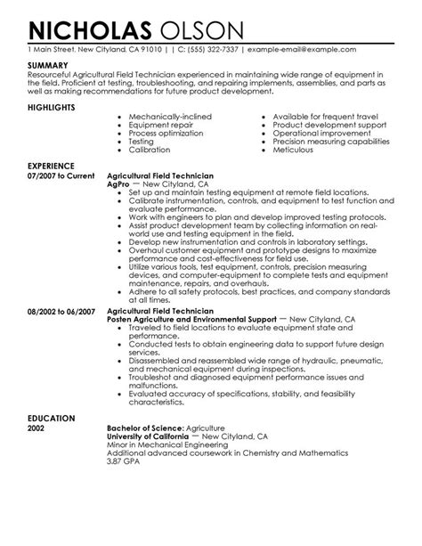 Technician Resume by Field Technician Resume Exle Agriculture Environment Sle Resumes Livecareer