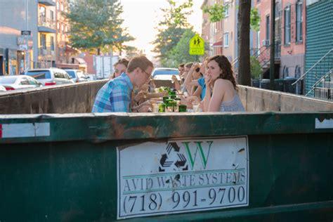 garbage gourmet  gooder foodies dine  wburg dumpster