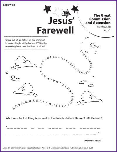 puzzle what did jesus say to his disciples before ascending korner biblewise