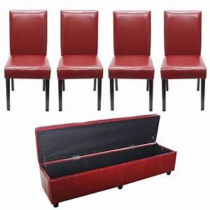 Badezimmer Bank Mit Aufbewahrung : garnitur sitzgruppe bank mit aufbewahrung xxl 4 st hle kunstleder leder rot haus sitzb nke ~ Sanjose-hotels-ca.com Haus und Dekorationen