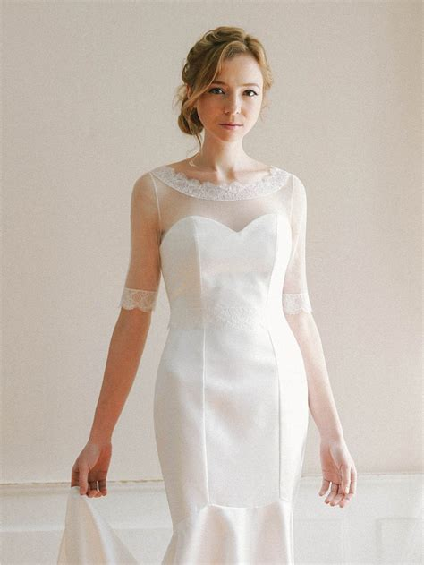 Wedding Cover Up Boatneck Lace Top Tulle Top Bridal Cover