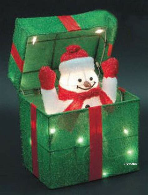 animated snowman gift box lighted tinsel indooroutdoor
