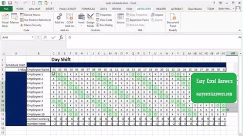 automatically create shift schedule  excel youtube