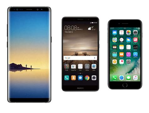 samsung galaxy note 8 vs apple iphone 7 plus vs huawei