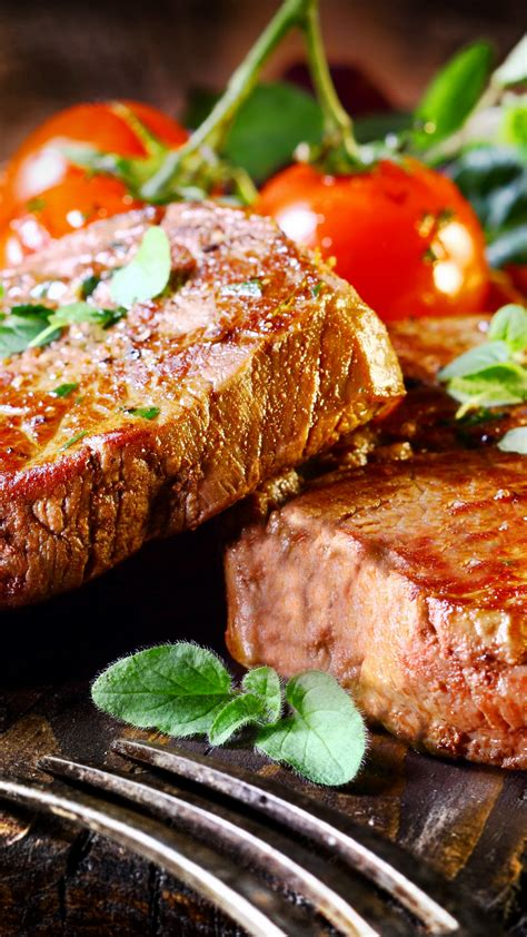 wallpaper beef steak food cooking grill vegetables