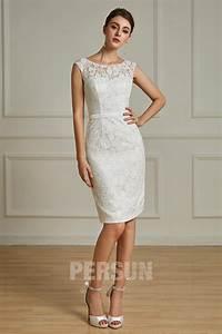 Robe Mariage Dentelle : robe blanc cass genoux en dentelle pour cocktail de ~ Mglfilm.com Idées de Décoration