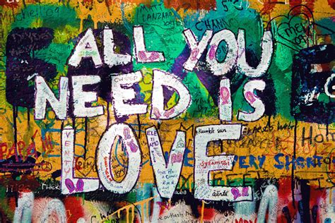 graffiti all you need is print on stretched canvas by artscope the block shop