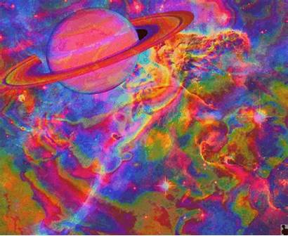 Trippy Saturn Space Psychedelic Cool Planet Colorful