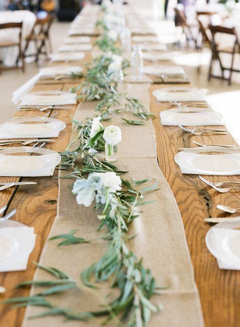 Dig the eucalyptus leaves as table runner accents