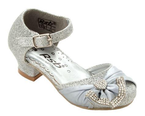 Wedding Sandals : Girls Silver Glitter Diamante Bridesmaid Wedding Party