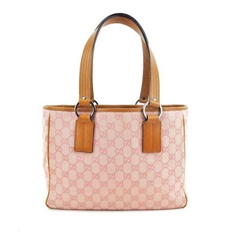 gucci vintage pink gg monogram canvas leather shoulder bag tradesy