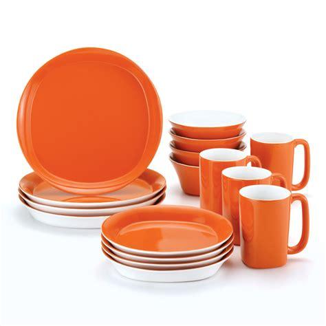 rachael ray   square orange dinnerware set    hayneedle