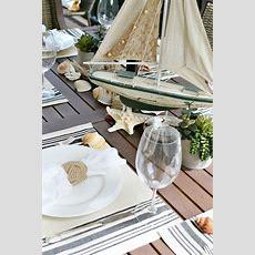 Nautical Outdoor Table Setting  At The Picket Fence