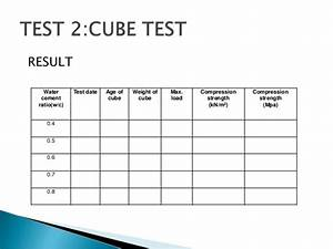 load test plan template - cube test report of rock types for