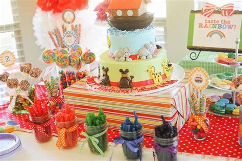 karas party ideas noahs ark animal rainbow twins