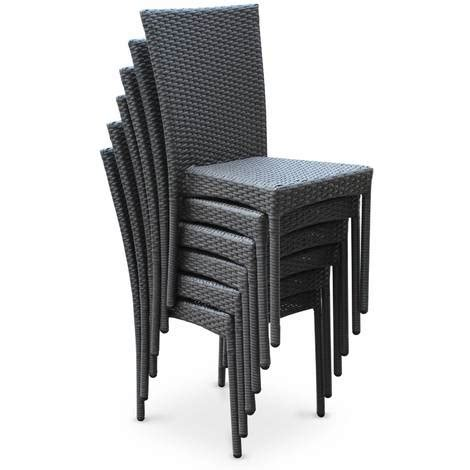 salon de jardin en r 233 sine tress 233 e 6 chaises gris table d