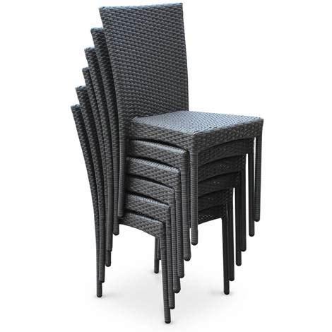 salon de jardin en résine tressée 6 chaises gris table d 39 extérieur design wk160r6gy jardin