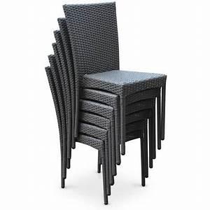 Chaise En Resine : salon de jardin en r sine tress e 6 chaises gris table d ~ Teatrodelosmanantiales.com Idées de Décoration