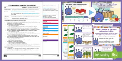 * New * Eyfs Maths Hungry Monster's Subtraction Game Whole Class Adult Input