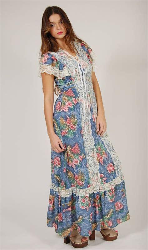 Vintage 70s PRAIRIE Dress Blue FLORAL Lace Maxi Dress ...