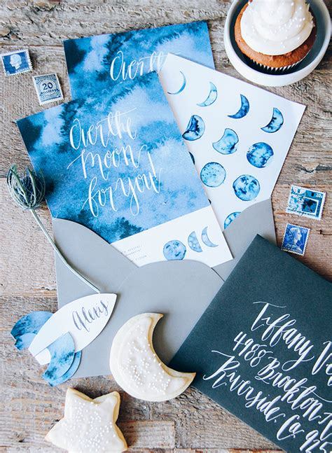 moon themed indigo baby shower inspired