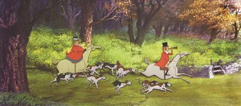 production cel  fox hunters  dogs  mary poppins