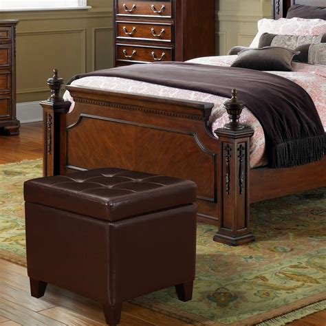 brown square ottoman adeco brown bonded leather square tufted storage ottoman 1839