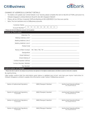 citibank singapore forms change of address form templates fillable printable
