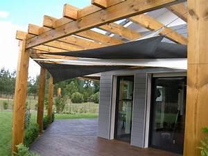 Voile Pour Pergola : voile d ombrage pour pergola bois toile protection solaire triangulaire lbzh ~ Melissatoandfro.com Idées de Décoration