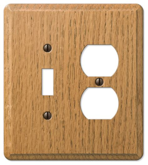 oak outlet covers amertac contemporary oak wood 1 toggle 1 duplex wall plate view in your room houzz