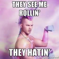 Unicorn They See Me Rollin Meme