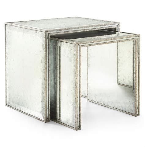 silver leaf end table jasmine hollywood regency silver leaf mirror nesting side