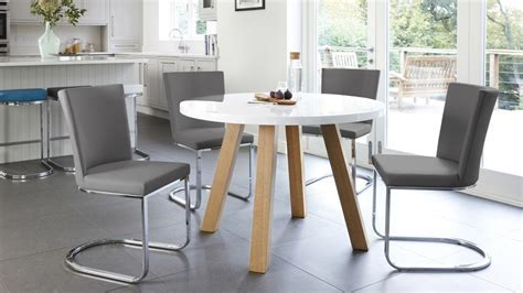 White Gloss and Oak Arc and Form 4 Seater Dining Set  UK
