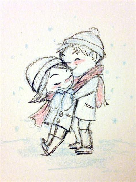 snowy embrace genevieve santos  cute drawings snow