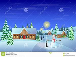 Christmas Eve Holiday House Winter Snow, Snowman Stock ...