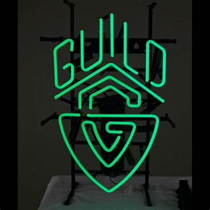 Neon Sign Guild Strap Leather Guitar Shield