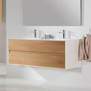 Meuble Tiroir Salle De Bain : meuble salle de bain 150 cm ch ne et solid surface 2 tiroirs elys e ~ Teatrodelosmanantiales.com Idées de Décoration