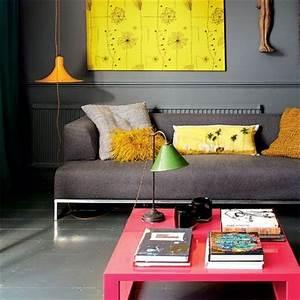 Salon Gris Et Rose : comment dynamiser un salon avec une association de couleurs flashy ~ Preciouscoupons.com Idées de Décoration