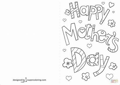 Mothers Coloring Cards Card Happy Pages Drawing