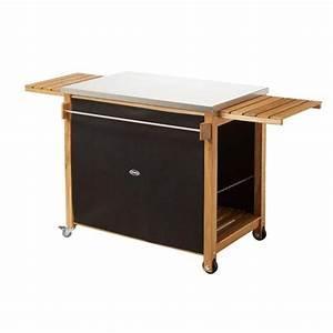 Meuble Pour Terrasse : table chene brosse et inox pour plancha achat vente ~ Premium-room.com Idées de Décoration