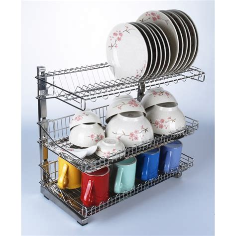 kitchen rack dish steel stainless layer organizer drainer storage trays double tier three bigspoon tiers plate malaysia removable organiser shelf