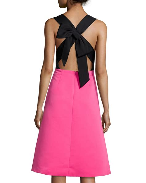 kate spade color block dress lyst kate spade new york colorblock bow back fit and