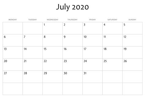 printable calendar word templates  blank